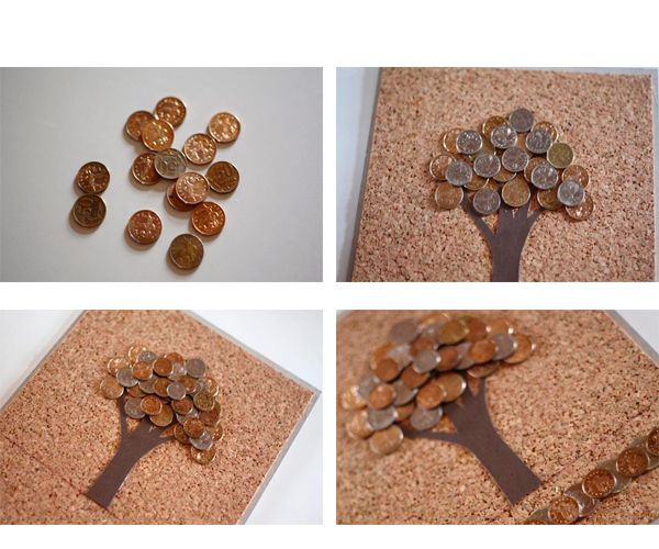 Приклеиваем монеты универсальным клеем к пробке в форме кроны дерева. Картину сушить в горизонтальном виде, иначе монеты могут сползти. Как только клей высохнет, можно делать проволочную петлю и вешать на стену. Картина получается тяжёлой, поэтому и петля должна быть прочной.