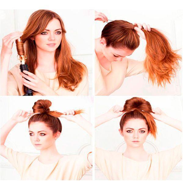 Для начала завейте волосы. Соберите их в высокий хвост. Сделайте петлю.
