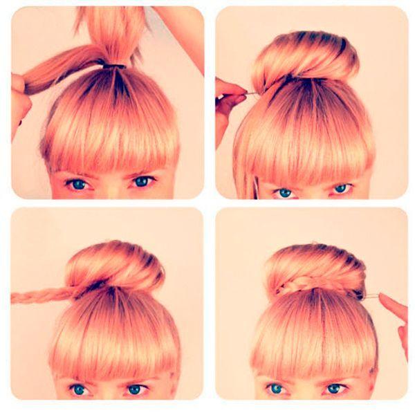 Отделите тонкую прядь. Из основной массы волос сделайте пучок, прядь заплетите в косу и оберните ею пучок.