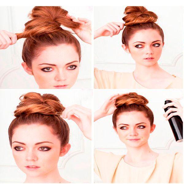 Концы волос обмотайте вокруг петли. Закрепите шпильками, сбрызните лаком.