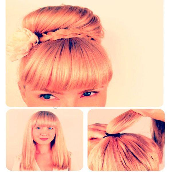 Чтобы сделать нарядный пучок в стиле ретро, соберите волосы в высокий хвост.
