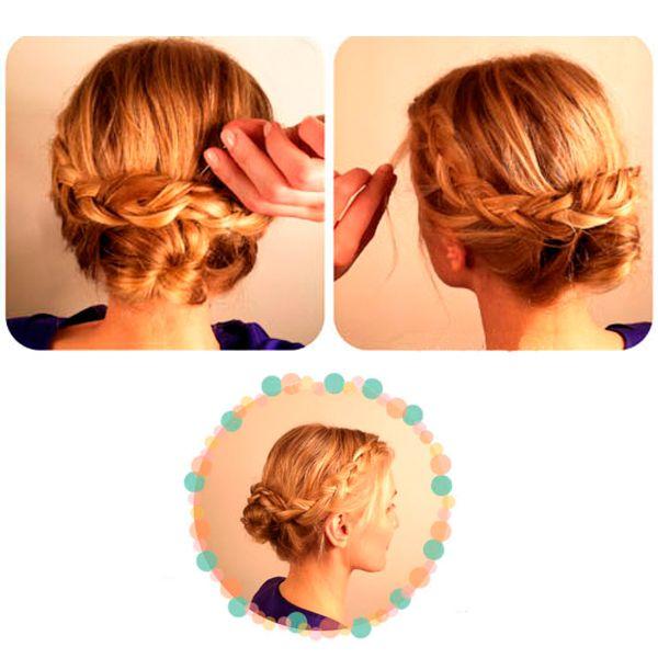 Свободные волосы заплетите в комы и скрутите их вокруг пучка.