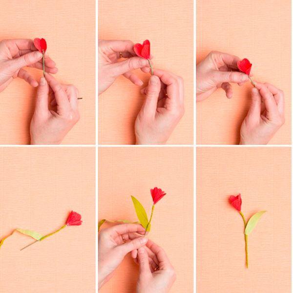 Когда цветок будет собран, обкрутите стебель зеленой бумагой. Сделайте листок и прикрепите к стеблю.