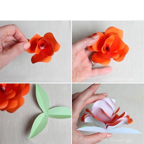 Лепестки под № 4, 5, 6, 7 склейте, сформировав из них что-то наподобие конусов. Теперь осталось собрать и склеить между собой все лепестки и листочки, и роза из бумаги своими руками будет готова!