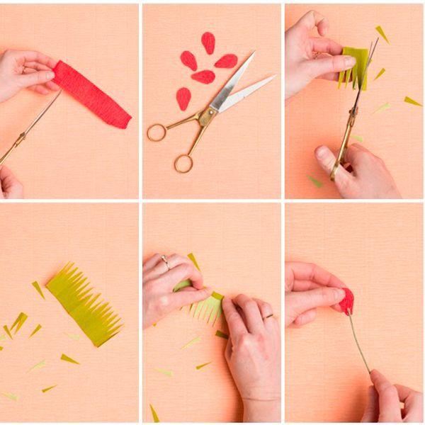 Вырежьте лепестки. Зубчиками нарежьте зеленую бумагу. Накрутите лепестки на проволоку.