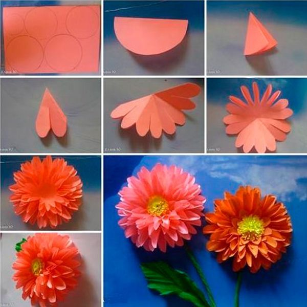 Из цветной бумаги вырежьте заготовки разного размера. Сложите их одна на другую. Сделайте серединку. Цветок готов!