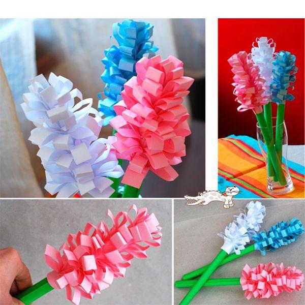 Гиацинты из бумаги сделать легко. С этим справится даже ребенок. Вам понадобится: цветная бумага, клей, ножницы, карандаш.
