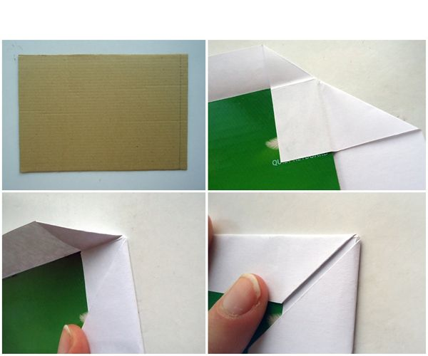 Берем наш плотный картон для основы рамочки (фото №1) и белую бумагу. Картон намазываем клеем и прикладываем к белой бумаге на середину, чтобы со всех сторон оставалось одинаковое расстояние бумаги. Теперь будем оформлять уголки.