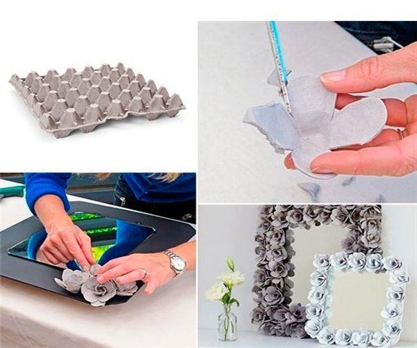 Для этой фоторамки нам понадобится картонный лоток для яиц. Вырезаем из него цветочки и обклеиваем ими фоторамку.