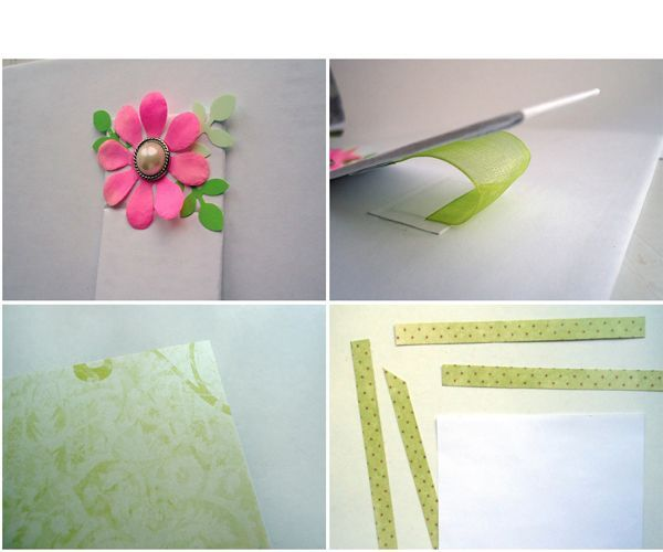 Возьмем красивый лист скрап-бумаги салатового цвета и приклеим ее на переднюю часть рамочки. После того, как будут приклеены все куски бумаги, у нас получится еще одна мини-рамочка. Ее приклеим на фон.