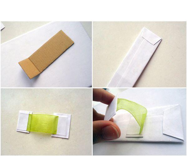 Маленький кусок картона также обклеиваем бумагой. Ножка готова.