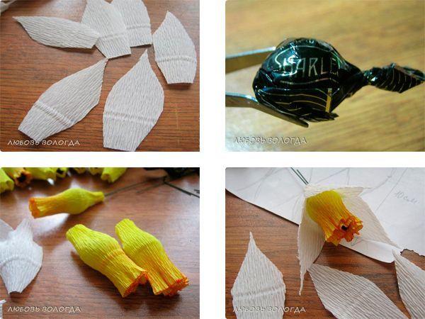 Нарезаем лепестки. Конфеты оборачиваем полосой желтой бумаги. Начинаем закреплять лепестки.