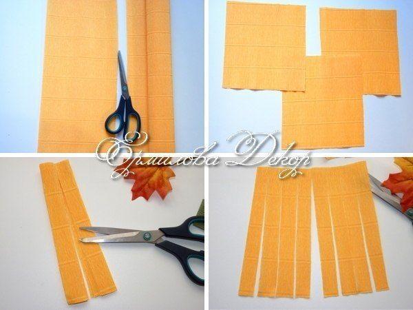 Нарезаем бумагу на квадраты. Каждый квадрат нарезаем полосками, не дорезая до края.