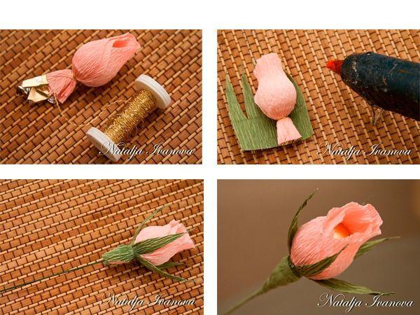 Зеленую бумагу нарезаем зубчиками и оборачиваем вокруг цветка. Закрепляем термоклеем.