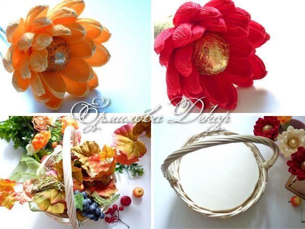 Собираем цветы в композицию, добавив элементы декора.