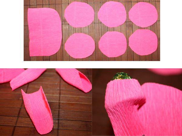 Вырежем из гофрированной бумаги детали для цветка. Каждому лепестку придадим полукруглую форму. Начнем оборачивать конфету.