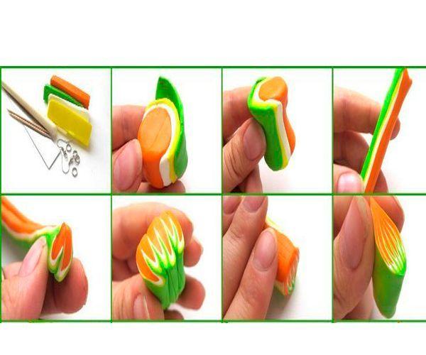 Сложим пластику разных цветов так, как показано на фото. Нам понадобится пластика оранжевого, салатового и желтого цветов.