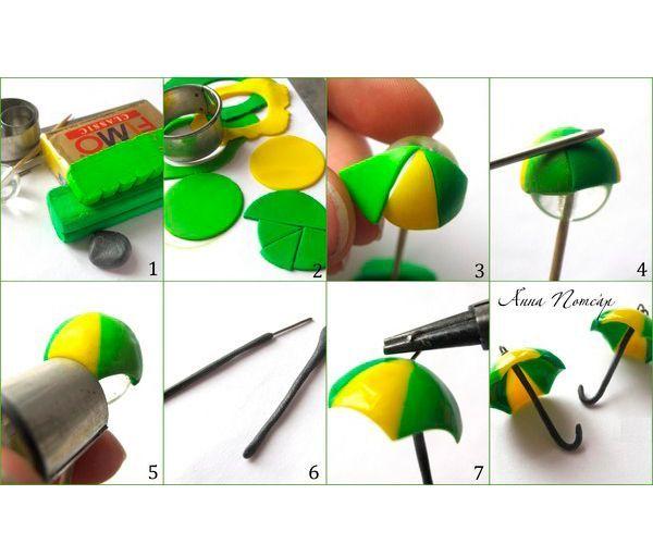 Разомнем кусочки пластики и раскатаем скалкой до толщины 1мм. Вырежем из раскатанных пластов круги и поделим каждый лезвием на 8 частей. Формируем зонтики, крепим фурнитуру. Запекаем.