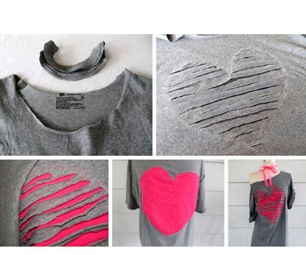 Отрезаем горловину футболки. Рисуем сердце, делаем поперечные надрезы. Снизу подшиваем ткань контрастного цвета.