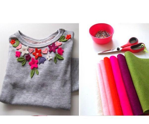 Чтобы декорировать футболку, нам понадобится бумага, карандаш, фетр, нитки, иголка.