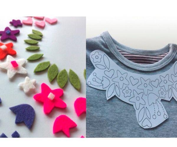 На бумаге нарисуем шаблон для нашего декора. Из фетра вырежем детали и пришьем к поверхности футболки, приложив шаблон.