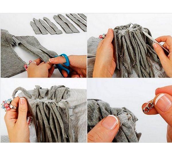 Отрезаем рукава и разрезаем их на узкие полосы. Продеваем сквозь ткань, закрепляем цепочки.
