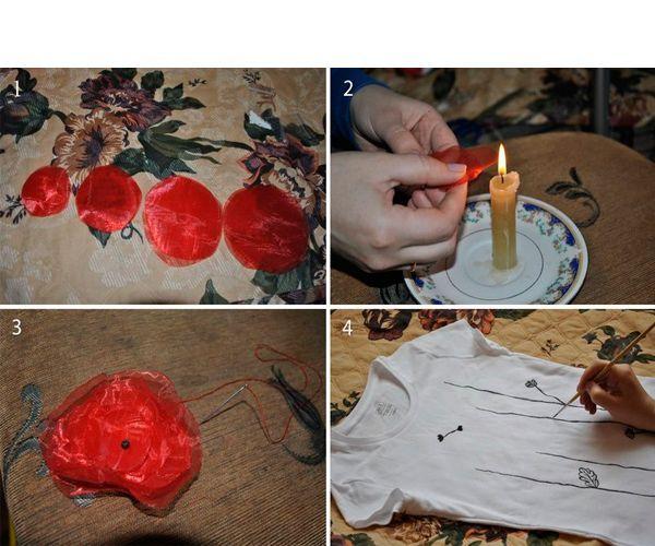 Из ткани вырезаем круги, обжигаем края над свечой. Делаем цветочки. Краской рисуем на футболке стебли. Пришиваем цветы.