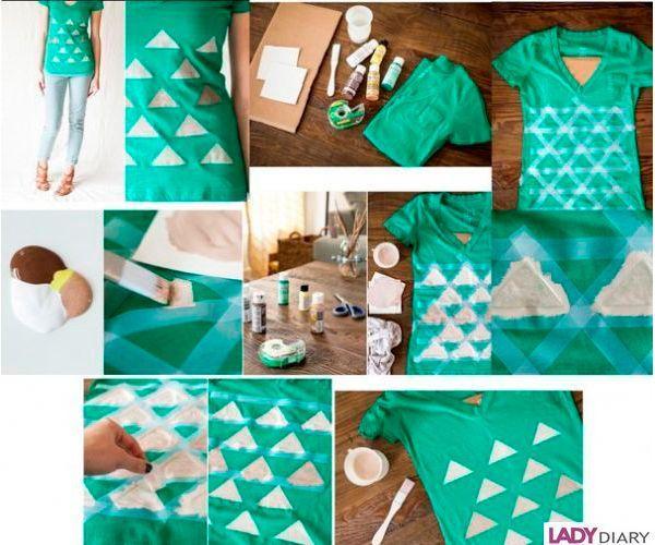 Для декора понадобится краска для ткани и малярная лента. Приклеиваем ее так, чтобы пустые места образовывали треугольники одинакового размера. Закрашиваем их краской. Снимаем ленту.