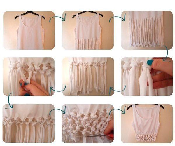 Нижнюю часть футболки нарезаем на вертикальные полосы. Завязываем узелки так, как показано на фото. Готово!