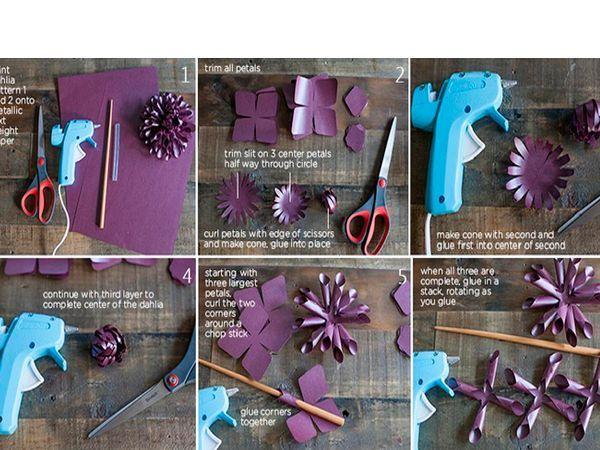 Лепестки 3-й, самой маленькой заготовки, загните к центру формируя сердцевину цветка и затем приклейте ее сверху 2-й, средней по размеру заготовки. Лепестки 2-й заготовки загните поверх лепестков 3-й заготовки, затем приклейте эти заготовки на 1-ю заготовку, самую крупную с нетронутыми лепестками, и так же загните лепестки.