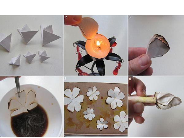Вырежьте лепестки. Обожгите края над свечой. Намотайте каждый лепесток на кисть.