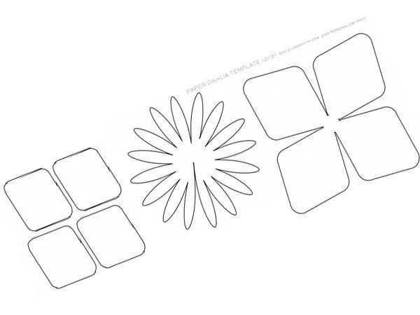 Нарисуйте или распечатайте на принтере шаблоны для вырезания деталей георгина, затем перенесите контуры шаблонов на плотную бумагу и затем вырежьте их.