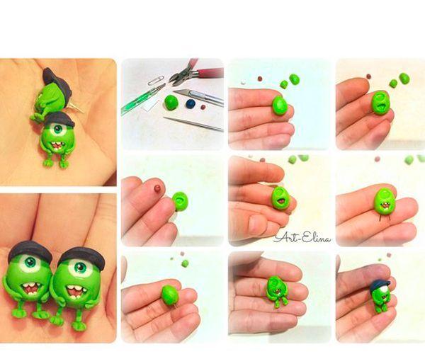 Скатайте шарик из пластики зеленого цвета. Оформите рот с помощью кусочка пластика красного цвета. Сделайте зубы из белого пластика. Слепите ноги и руки, соберите фигурку.