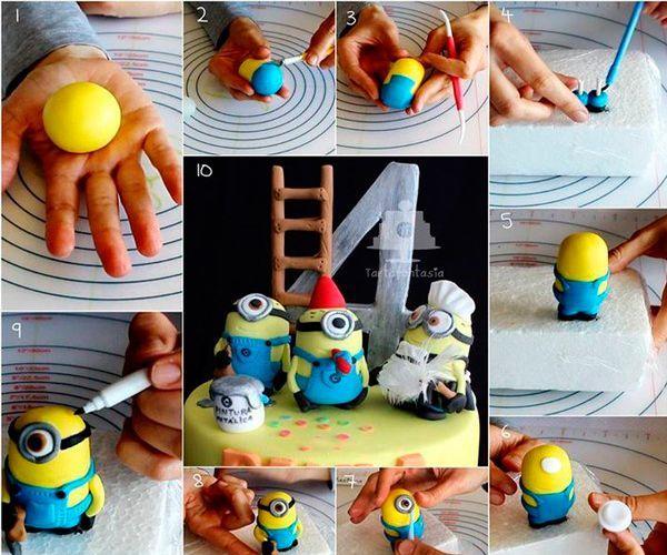 Скатайте шар из желтой пластики. Это будет голова. Туловище сделайте голубого цвета. Оформите детали и запеките фигурку.
