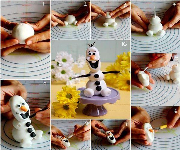 Чтобы сделать снеговика, пластику скатайте в шары, слегка их приплюсните и нанижите на шпажку. Оформите лицо, из черной пластики сделайте пуговицы. Руки сделайте из зубочисток, обернутых пластикой.