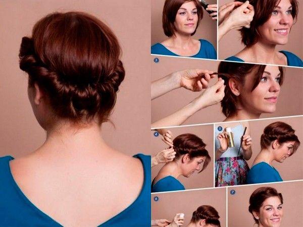 Прически на короткие волосы фото своими руками поэтапно фото