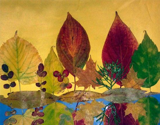 Аппликации из листьев, идеи.
