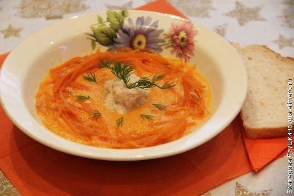 Нежный суп-пюре с рыбой и тыквой