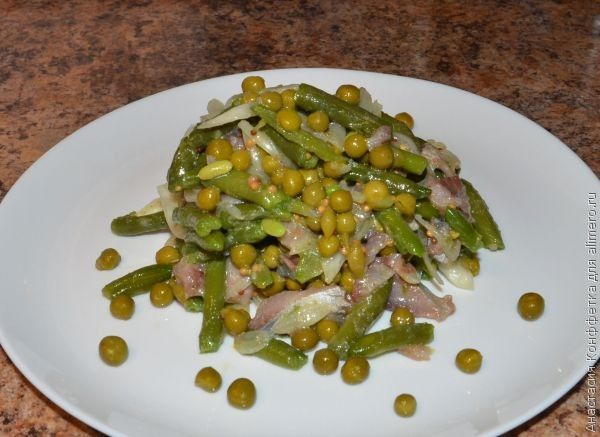 салат из селедки и стручковой фасоли