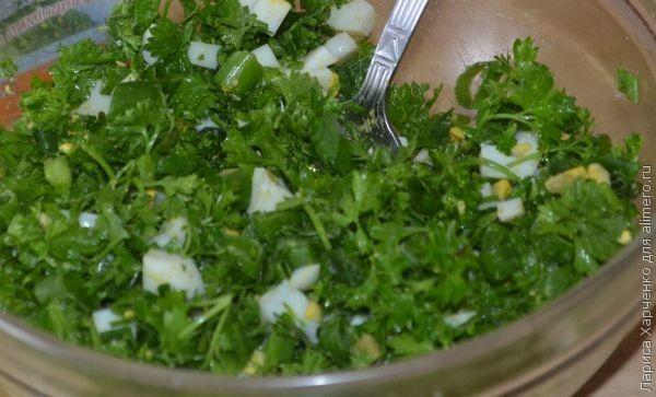 Чебуреки с зеленью и яйцом