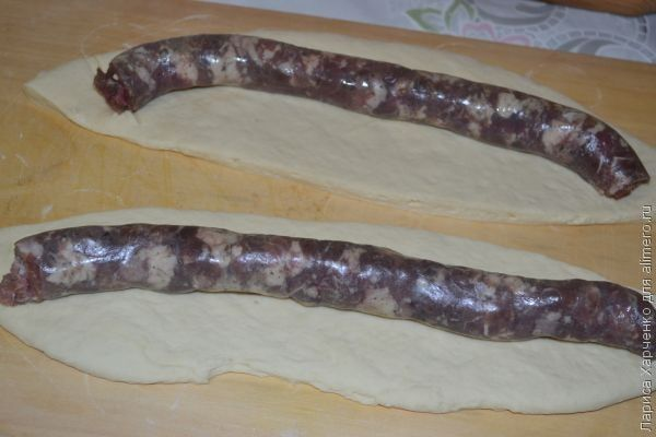 домашняя колбаса в тесте