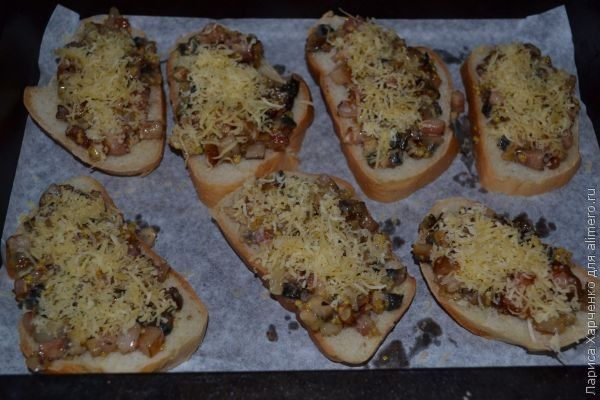 горячие бутерброды с грибами