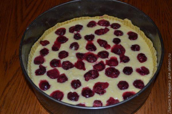 творожный пирог вишней