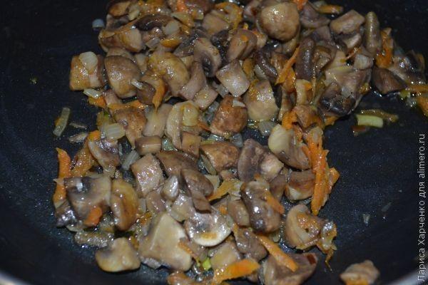 грибной суп с цельнозерновой вермишелью