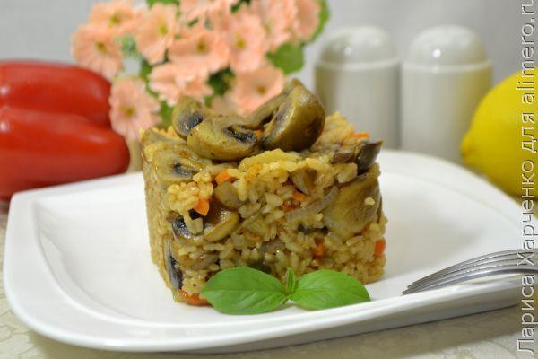 Рис с грибами на сковороде