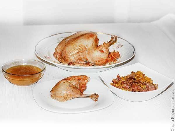 Курица с кукурузой и колбасой