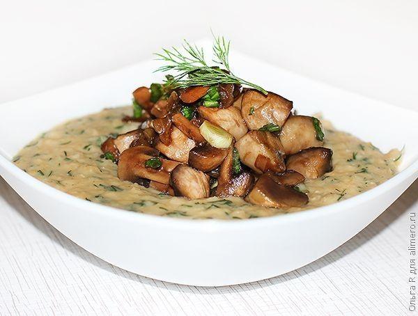 Пюре из чечевицы с грибами
