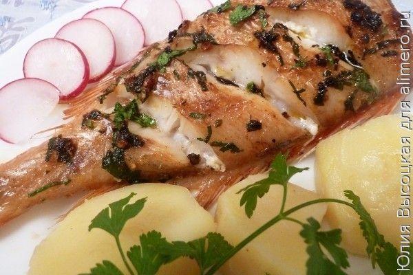 Морской окунь с имбирем и перцем чили