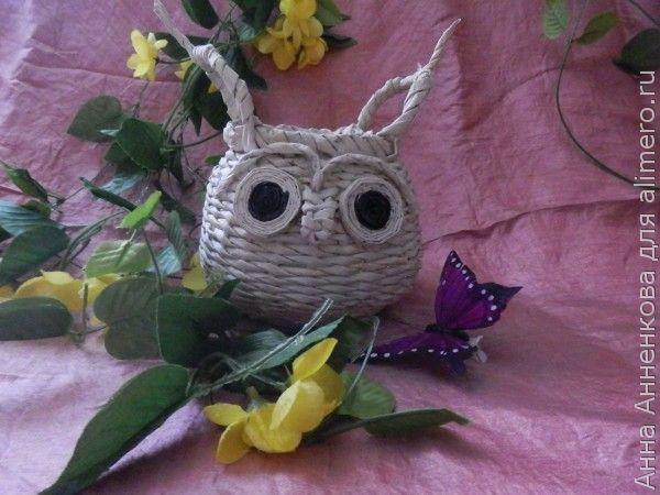 Плетеный горшочек-сова