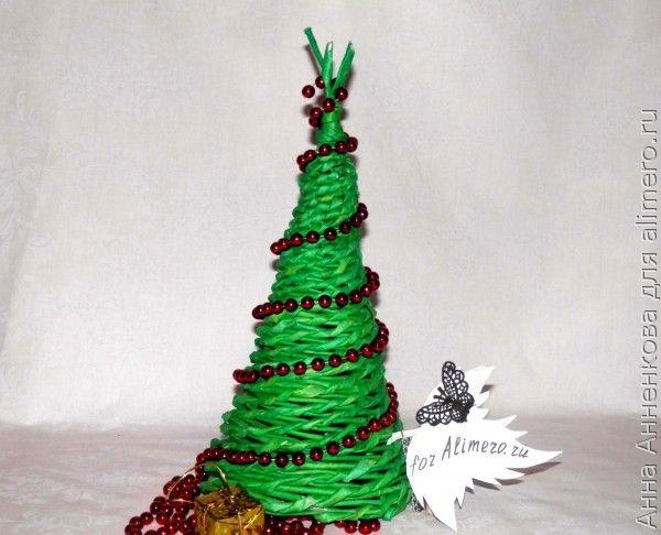 Декоративная плетеная елочка